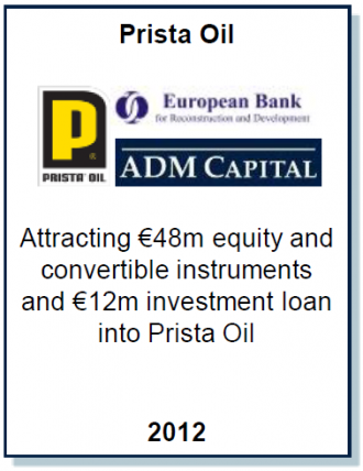 Entrea Capital advised Prista Oil Group in a transaction with ADM Capital and EBRD